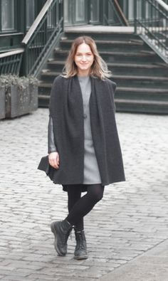 Wearing Wool & Cashmere dress and Shawl coat. Shop here: meandm.bigcartel.com