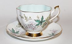 Queen Anne Bone China Teacup & Saucer Aqua Leaves Pink Flowers