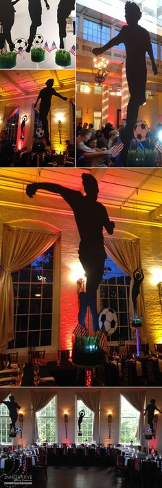 SRS World Cup Soccer Centerpieces featured hand cut custom silhouettes of the…