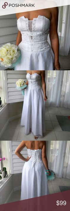 """Beautiful wedding dress! You will love it! Beautiful wedding dress with nice details. Cleaned after wedding. SIze 6-8. It ties in the back, so it should fit everyone. No worries about not fitting. I am 5""""8'. If you are something like me, it will be great for you. The best thing is the price for you. I bought it for $2500 and selling only for $99. I just need room in my closet. The dress will stay on my wedding pictures forever. Someone else can enjoy it now. I am sure it will bring you good…"""