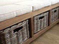 Cute 3 seater hall seat made using reclaimed timber!  http://www.sustainable-furniture.co.uk/storage-units/storage-units/reclaimed-teak-hall-seat-plus-3-kubu-grey-natural-wicker-drawers-plus-cushion/prod_1008.html