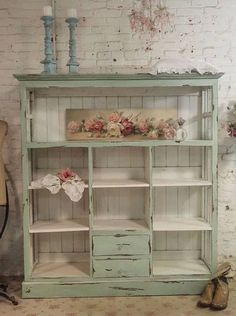 Pale blue shabby chic open cabinet