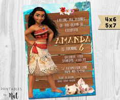 Moana Birthday Invitation, Princess, Disney, Maui, Hawaiian, Ocean, Tropical, Kids, Girls Boys, Custom, Invite, Party, Movie,