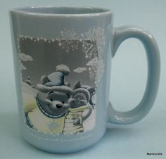 Coffee Mug Disney Winnie Pooh Piglet 15oz Blue Monochrome Winter Holiday 2003 | eBay