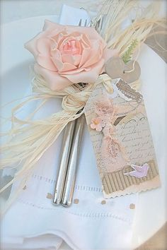 """Sweet """"shabby chic"""" place settings or party favors Shabby French Chic, Shabby Chic Style, French Vintage, Wedding Tags, Wedding Favors, Our Wedding, Wedding Decorations, Wedding Invitations, Bodas Shabby Chic"""