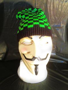 Bright Green & Black Checker Knit Beanie by BondStreetExit on Etsy