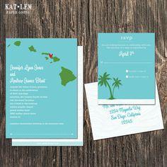 Hawaii Wedding Invitation Set  Oahu Kaui Maui by katleminvitations, $40.00