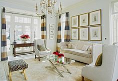 Love the striped curtains Amy Howard Paint, Unwanted Furniture, Living Room Decor, Living Rooms, Living Area, Family Rooms, Living Spaces, Striped Curtains, Interior Design Studio