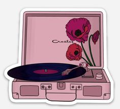Floral Record Player pink laptop sticker Floral Record Player pink laptop sticker <br> A fun and girly way to show your love of the best way to listen to music- classic vinyl records Featuring a poppy floral design and a pink Crosley record player Cute Laptop Stickers, Bubble Stickers, Phone Stickers, Journal Stickers, Cool Stickers, Printable Stickers, Planner Stickers, Snapchat Stickers, Preppy Stickers