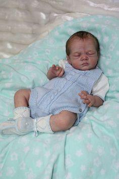 Reborn boy brown hair sleeping adorable