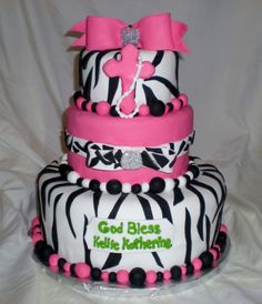 Zebra Print and Hot Pink Confirmation Cake By tonmich on CakeCentral.com
