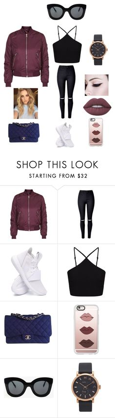 """Blue Touch."" by dreaming-of-a-better-tomorrow ❤ liked on Polyvore featuring Topshop, WithChic, adidas, Miss Selfridge, Chanel, Casetify, CÉLINE, Marc Jacobs and Lime Crime"