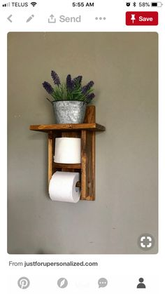 Toilet Paper holder shelf (TP Holder) is s great bathroom decor to bathroom. Give your bathroom a rustic décor with this farmhouse toilet paper holder. This toilet roll holder holds more then one roll of toilet paper. Always have that extra roll handy. Rustic Bathroom Wall Decor, Rustic Bathrooms, Bathroom Shelves, Rustic Decor, Bathroom Ideas, Bathroom Storage, Bathroom Organization, Bath Ideas, Small Bathroom