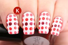 #Dots: gradient red and coral dots #nail art