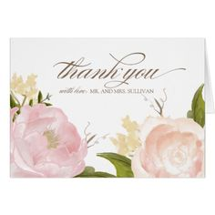 Watercolor Wedding Thank You Romantic Watercolor Flowers Thank You Card