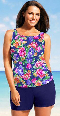 19b10c949860f Floral Top plus size shortini Plus Size Fashion Tips