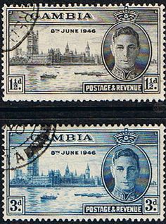 Gambia 1946 King George VI Victory Set Fine Used SG162 3 Scott 144 5 Other Gambia Stamps HERE