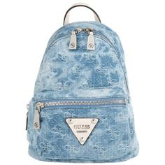 Guess Leeza Small Backpack Blue Denim in blue, white, Shoulder Bags ($155) ❤ liked on Polyvore featuring bags, backpacks, shoulder bag, guess bags, american backpack, backpack bags and blue denim backpack