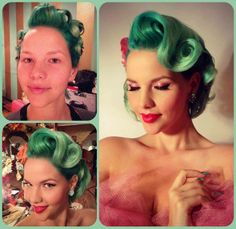 LOVE how she styled her hair, and I never would have thought that green could be glam!