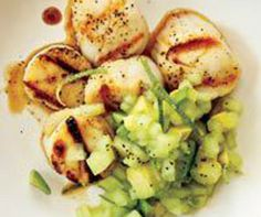Grilled Scallops With Honeydew-Avocado Salsa...I'm all over this one!!!