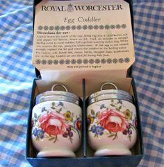 Pair of Vintage Royal Worcester ~Egg Coddlers ~Bournemouth Pink Rose Orginal Box