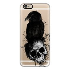 iPhone 6 Plus/6/5/5s/5c Case - Raven and Skull - Transparent ($40) ❤ liked on Polyvore featuring accessories, tech accessories, iphone case, slim iphone case, transparent iphone case, apple iphone cases and iphone cover case