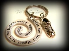 Hand Stamped Keychain- Forget the glass slipper this princess wears running shoes - Marathon Runner on Etsy, $22.00