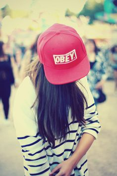 Obey, snapback. Just got one $7.99 on http://www.wonderfulsnapbackswholesale.com/Fashion-Obey-Adjustable-Snapback-Cap-p-16247.html