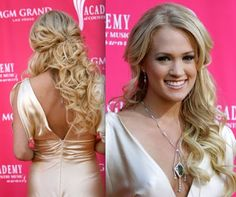 Carrie Underwood curled down-hair.