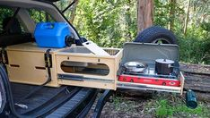 The Nomad Kitchen is a handy slide-out car camping kitchen that fits in nearly any hatchback or SUV, yet can take on 200 pounds of weight and 14 gallons of water. Suv Camping, Camping Stove, Outdoor Camping, Outdoor Gear, Camping Trailer Diy, Camping Water, Camping Hammock, Camping Outdoors, Truck Camper