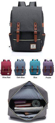 Which color do you want?Vintage Canvas Travel Backpack Leisure Backpack&Schoolbag #vintage #school #bag #canvas #backpack #college #rucksack