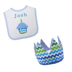 PersonalizeMyBabyBlanket.com -  3 Marthas Blue Cupcake First Birthday Bib