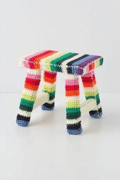fuzzy rainbow foot stool