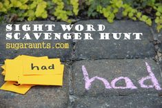 Practice sight words with a hands-on movement scavenger hunt activity. Perfect for kids learning sight words and spelling words. Teaching Sight Words, Sight Word Games, Sight Word Activities, Literacy Activities, Listening Activities, Teaching Letters, Spelling Activities, Creative Activities, Outdoor Learning