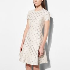 CIRCLE LEATHER DRESS WITH WHIPSTITCH EYELET - Alternate View 1