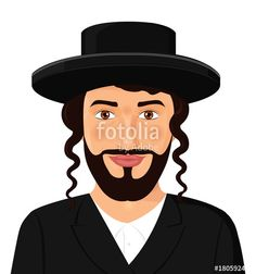 Vector: Orthodox jewish man portrait with hat in a black suit jerusalem israel avatar style vector Illustration isolated on white background.