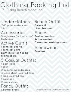 Beach vacation packing list. Click through for more info/photos.