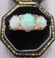 A Beautiful Victorian Opal & Diamond Ring set in 18ct Yellow Gold (only £650...i'll have two!)