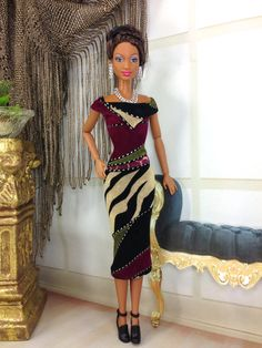 Dress For Barbie Doll  Mixed Design Dress with by EnchantedStyles, $16.00