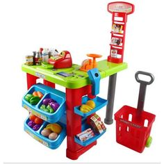 Kids Pretend Play Grocery Store Cash Register Shopping Cart Educationa – Vick's Great Deals Toys For Girls, Kids Toys, Play Grocery Store, Credit Card Machine, Cool Gifts For Kids, Cash Register, Pretend Play, Pretend Food, Pretend Kitchen