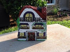 "Traditional Villa House ~ Hand Painted Garden/Landscape Rock / Brick ~ 5"" X 4""X 2"""