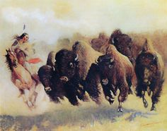 "1910- Edward Borein, The Buffalo Hunt, Native American Art, Western, 20""x16"""