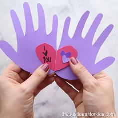 Kids Crafts HANDPRINT CARD - this adorable handprint card is so cute for Valentine's Day! you can find similar pins below. Mothers Day Crafts For Kids, Valentine's Day Crafts For Kids, Valentine Crafts For Kids, Daycare Crafts, Fathers Day Crafts, Toddler Crafts, Preschool Crafts, Holiday Crafts, Fun Crafts