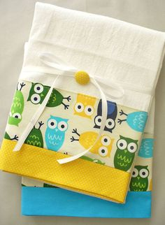 Kitchen towels with owl pattern cotton by SeamlessExpressions