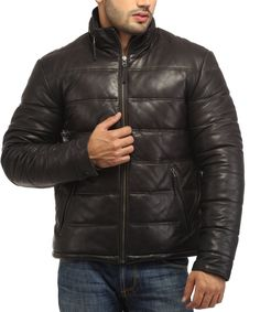 Men Soft Lamb Leather Puffer Jacket by aarna101 on Etsy