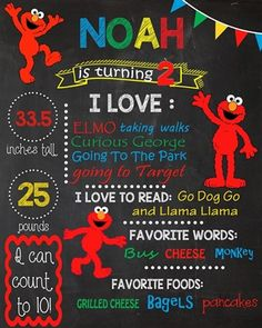 Birthday Chalkboard Poster Sign • Elmo Theme • Free economy shipping • Fast turnaround time • Great customer service • These birthday boards are custom, high resolution digital files that are personalized for each customer upon order
