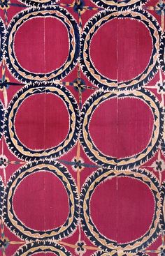 Tashkent Embroidered Suzani - Silk on Cotton x Esther Fitzgerald Rare Textiles Motifs Textiles, Textile Patterns, Textile Design, Fabric Design, Print Patterns, Floral Patterns, Surface Pattern, Pattern Art, Pattern Design