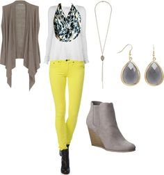 """Yellow and Grey."" by theedeandrab on Polyvore"