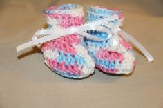 1 pair of 0 to 3 months size - crochet baby booties white, pink & blue newborn #handcrocheted #Booties