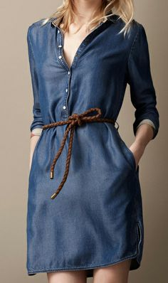 Long sleeve lapel denim blue dress with belt free #ahai #women #fashion